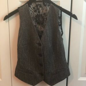 Express Tweed and Black Lace Vest Size 0